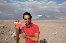 Uma placa de minas terrestres no Chile