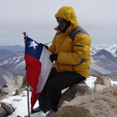 Marcio Pelloso no cume do Ojos del Salado com m Foto de Marcio Pelloso e