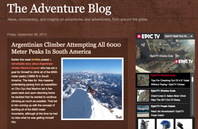 The Adventure Blog Argentinian Climber Attempting All  Meter Peaks In South America