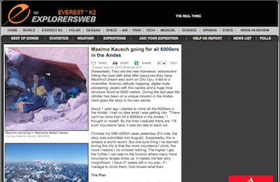 Everest K News ExplorersWeb Maximo Kausch going for all ers in the Andes  copy