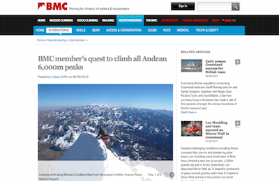 BMC members quest to climb all Andean m peaks  copy