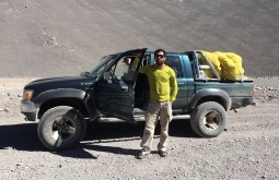 Driving his 4WD Hilux
